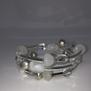 Jewelry - Triple Wrap Silver Moonstone and Crystal Bracelet